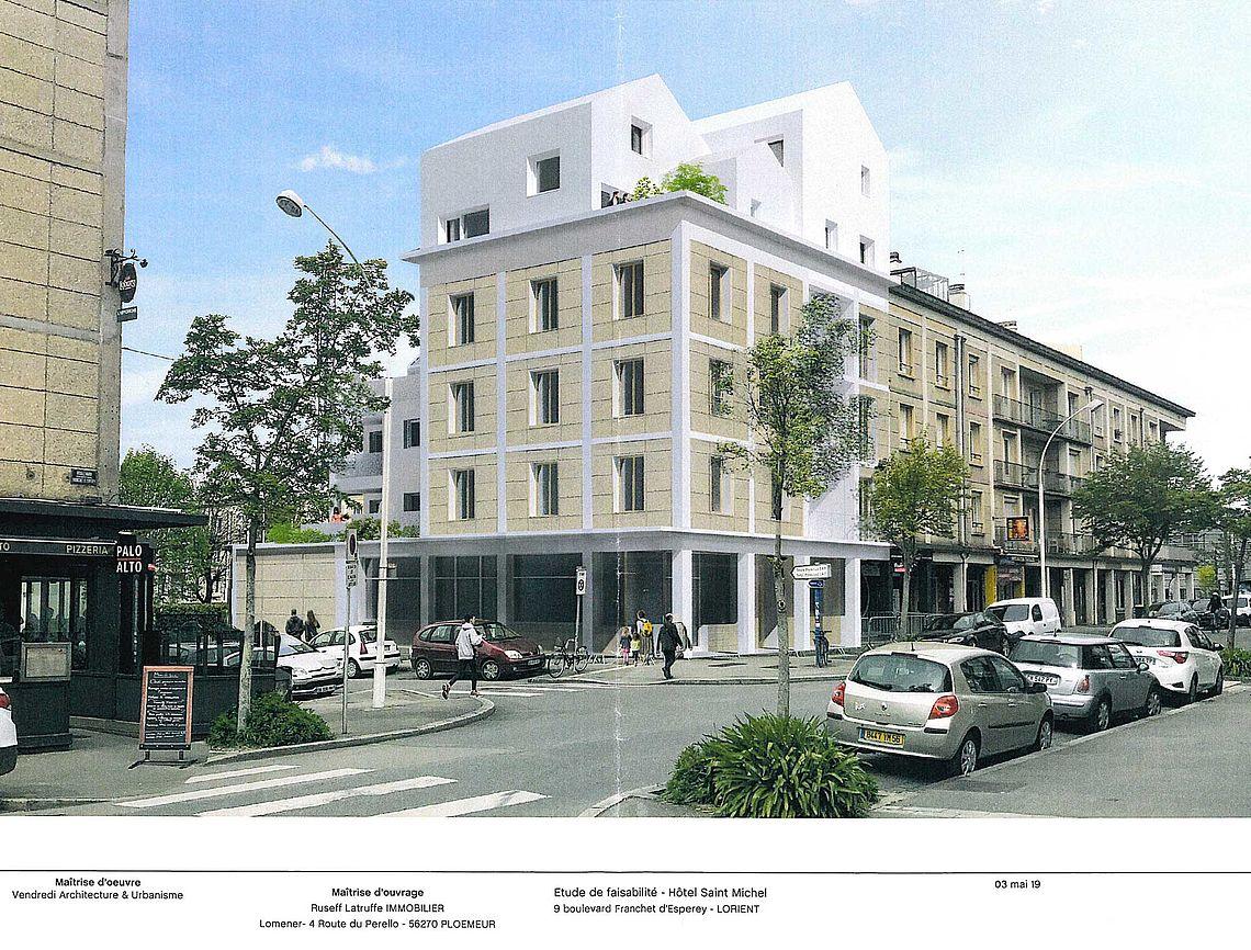 Esquisse du projet sur l'ancien hôtel St Michel