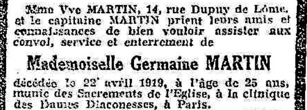 Avis de funérailles de Germaine Martin