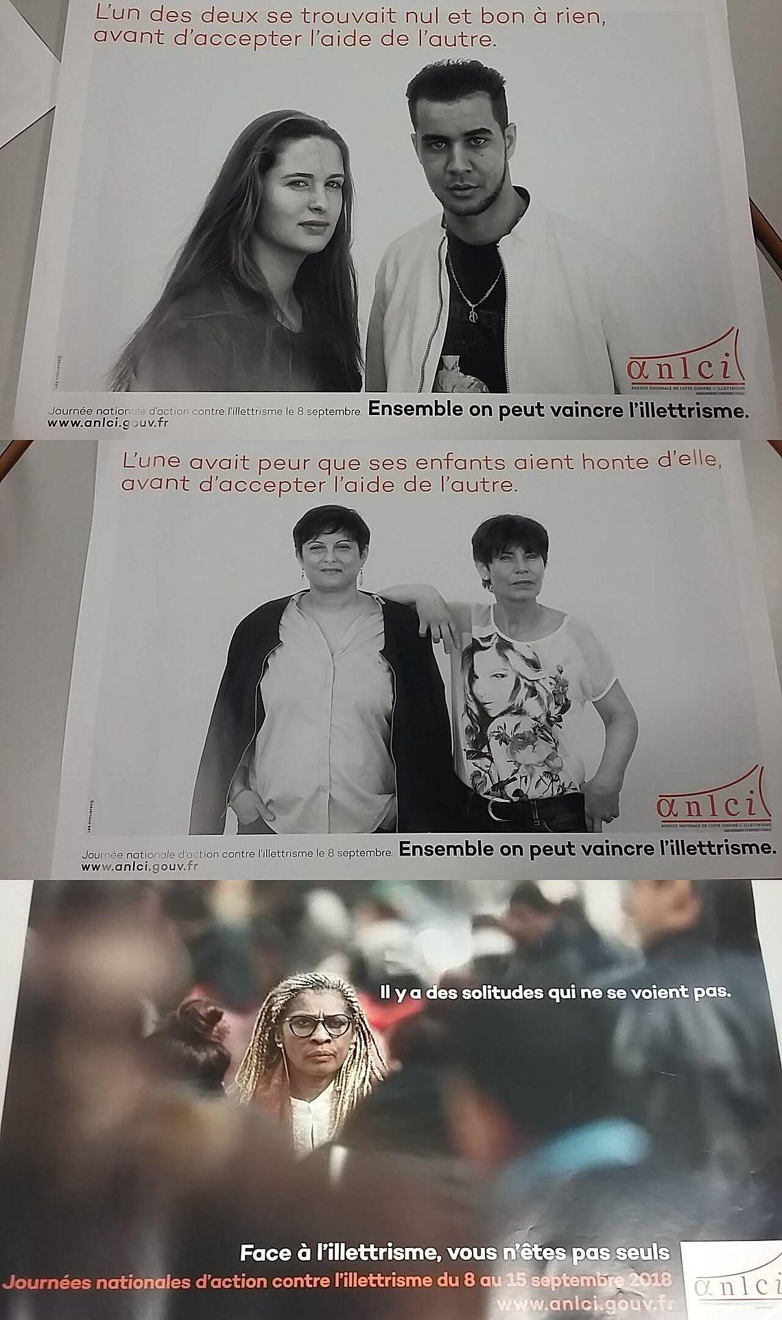 Affiches de campagne pour l'action contre l'illettrisme
