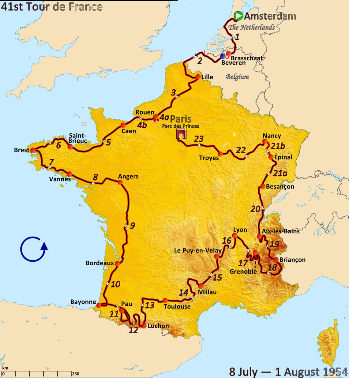 Tour de France 1954 - carte par Andrei Loas