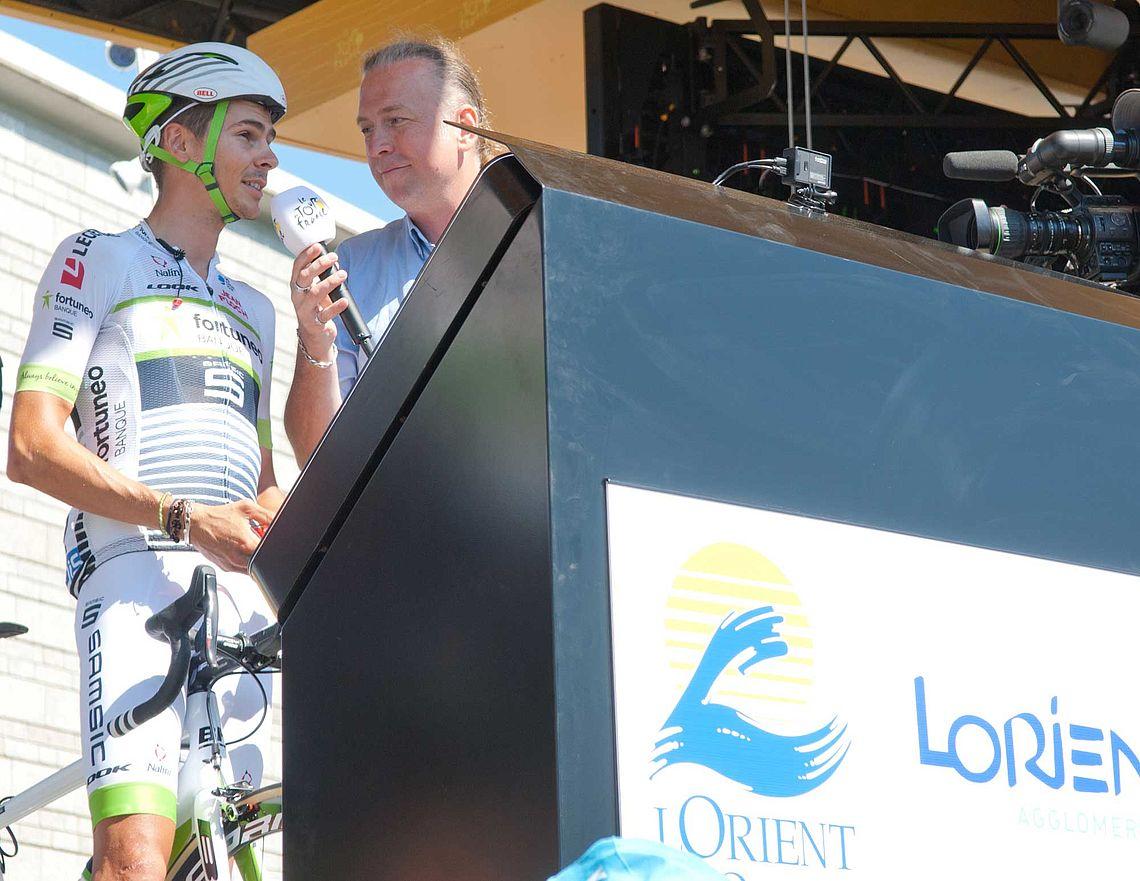 Warren Barguil au départ de l'étape du 11 juillet 2018 à Lorient