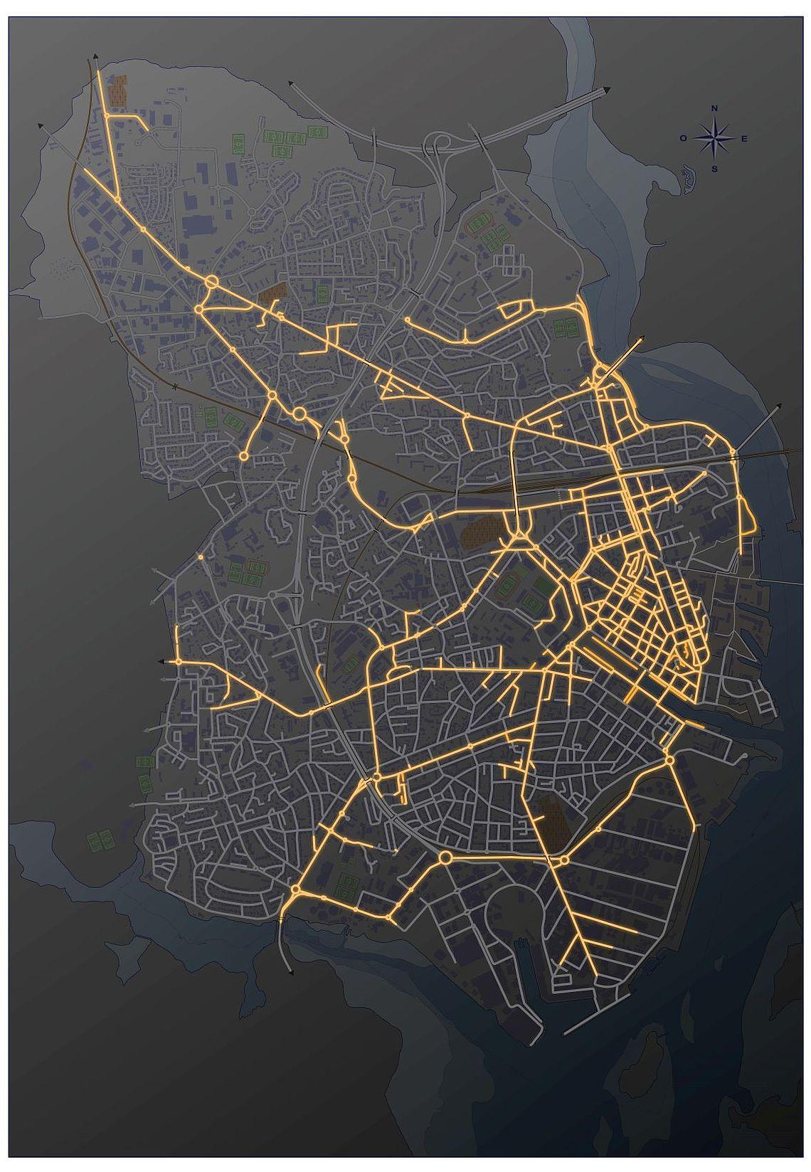 En jaune, les rues restant éclairées. Cliquez pour agrandir