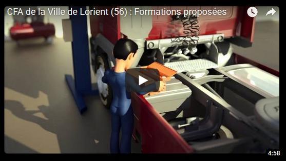 Les formatiovns proposées au CFA en vidéo d'animation