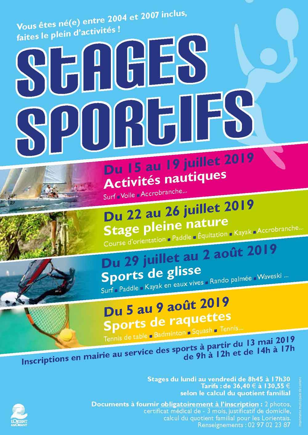 Stages sportifs été 2019... Cliquez !