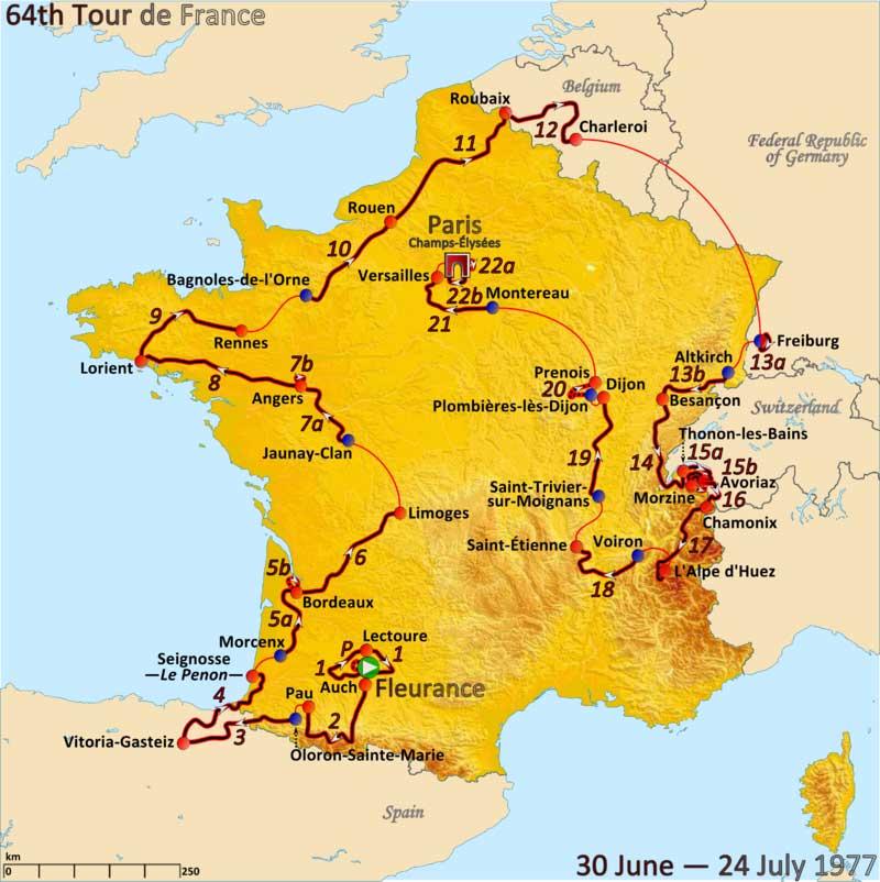 Parcours du Tour de France 1977. Image : Andrei Loas CC BY-SA 4.0