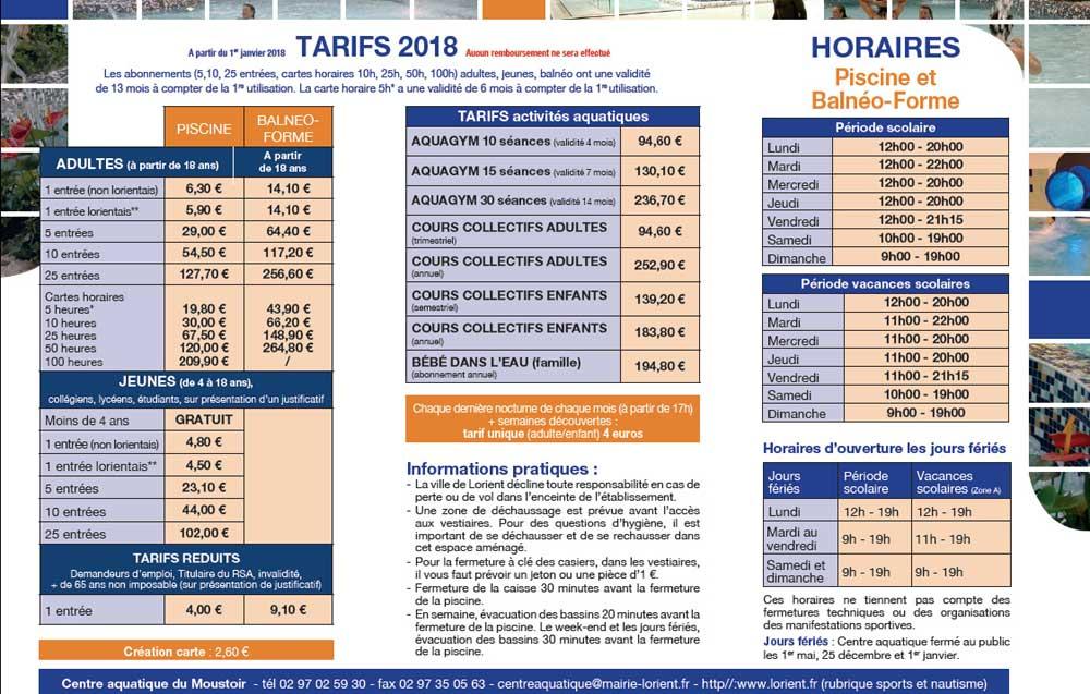 Tarifs 2018