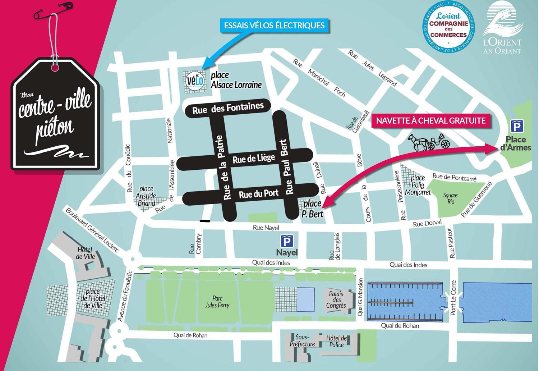 plan du centre-ville piéton