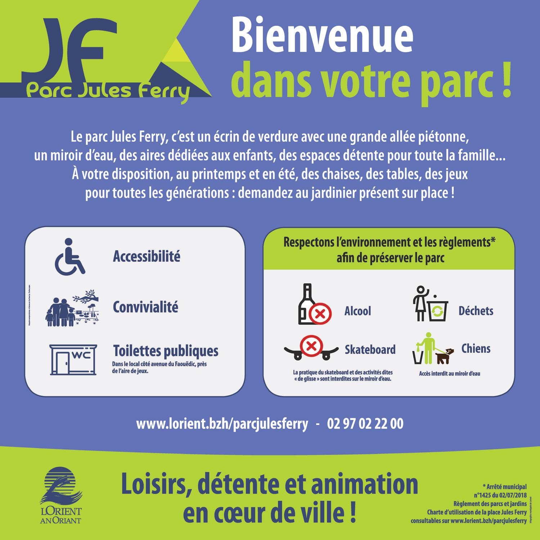 panneau d'information sur l'usage du parc Jules Ferry