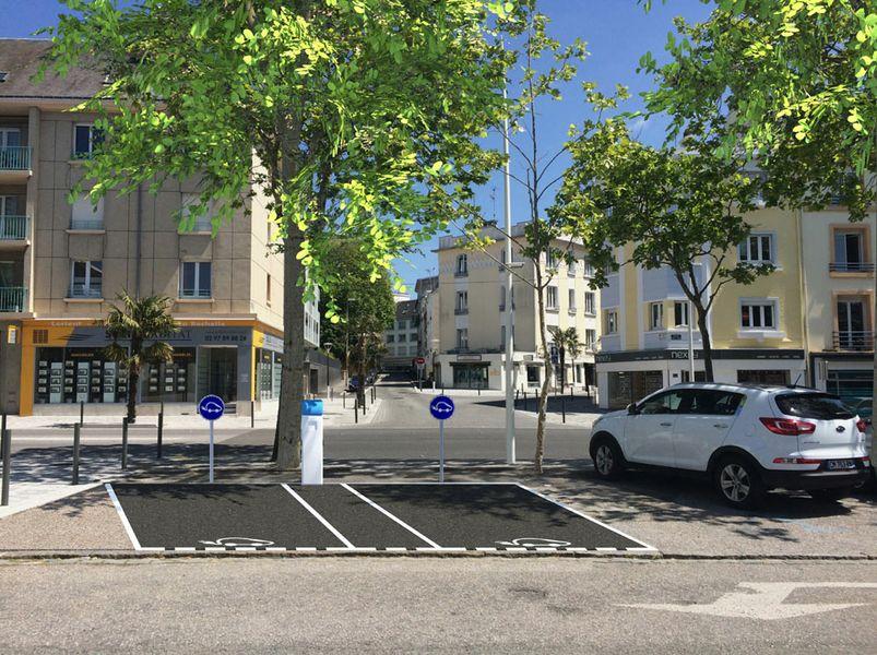Borne de recharge sur la parking de la mairie