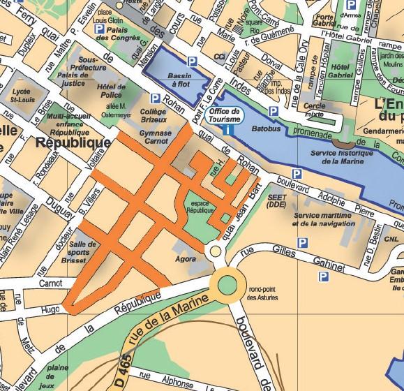 Cliquez pour agrandir le plan des zones réglementées dans le secteur de la gare maritime