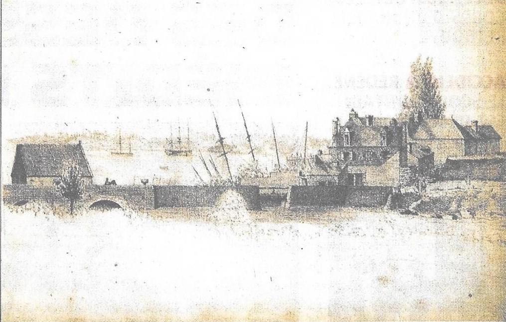 Vue de la voie du pont où se trouvait le moulin à mer du Faouëdic - image DR