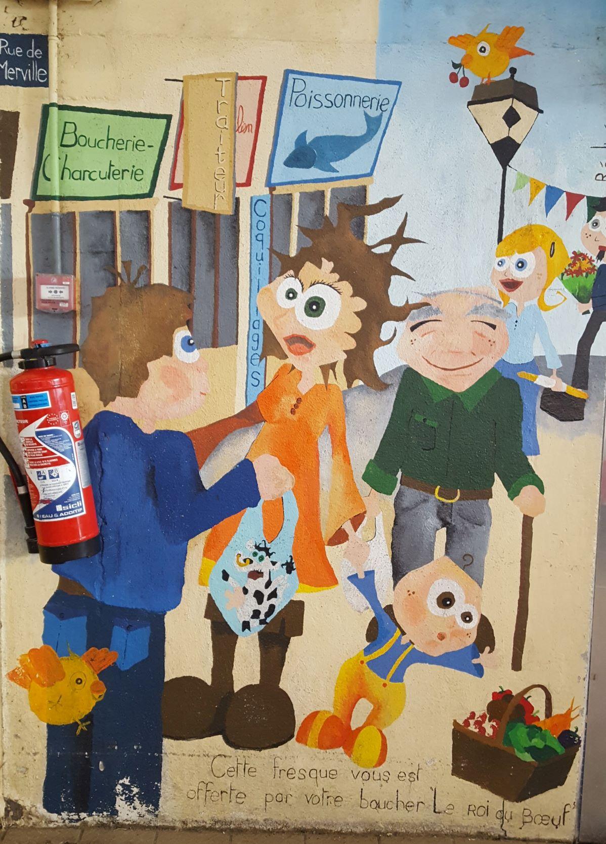 Fresque dans les halles de Merville